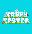 happy easter poster with cartoon rabbits vector image vector image