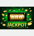 jackpot shiny gold casino label with money coins vector image vector image