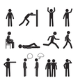 man posture pictograph icons set human body action vector image vector image