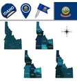 map of idaho with regions vector image vector image