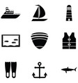marine icon set vector image vector image