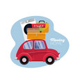 moving concept red vintage car with suitcases vector image vector image