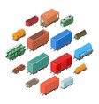 railway carriage icons set isometric style vector image vector image