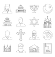 Religious symbol icons set outline style vector image vector image