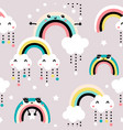 seamless childish pattern with cute rainbow stars vector image