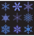 Set hand-drawn doodles color snowflake Zentangle vector image