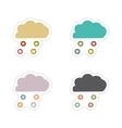 Set of paper stickers on white background cloud vector image vector image