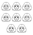 set of womans emotions facial expression vector image