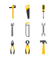 set tools construction equipment supplies vector image