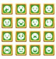 smiles icons set green square vector image vector image