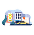 taxi order online smartphone app hand holding vector image