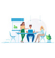 team works in office for laptops vector image vector image