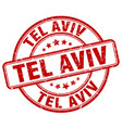 tel aviv red grunge round vintage rubber stamp vector image vector image