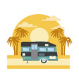 trailer home isolated on sunset landscape vector image