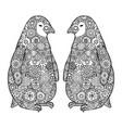 two loving penguin zen tangle zentangle vector image vector image