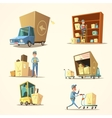 Warehouse retro cartoon set vector image vector image