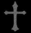 white pixel christian cross icon vector image vector image