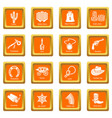 wild west icons set orange square vector image vector image