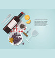 wine glass wine bottle olives and grapes vector image vector image