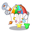 with megaphone character hanging toy attached to vector image vector image