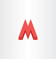 3d red letter m icon logo vector image vector image
