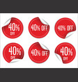 40 percent off red paper sale stickers vector image vector image