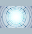 abstract blue tech arrows and circles background vector image vector image