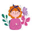 breast cancer awareness month cute woman vector image vector image