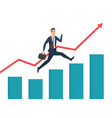 Businessman running grow up graph Business cartoon vector image