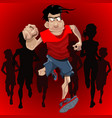 cartoon man runs ahead of a crowd of runners vector image