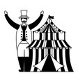 character circus carnival tent vector image vector image
