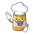 chef character bottle style mustard sauce yummy vector image