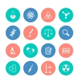 Chemistry icons on color circles vector image