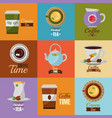 coffee and tea time set teapot coffee maker cups vector image vector image