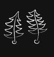 curved two dancing christmas trees drawn with vector image