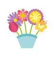 cute bouquet of flowers nature icon vector image