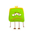 cute sad purse character funny green humanized vector image vector image