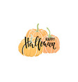decorative orange pumpkins with happy halloween vector image vector image
