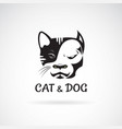 dog face bulldog and cat face design on a white vector image vector image