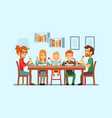 festive family dinner happy parents eating vector image