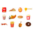 food icon set cartoon style vector image vector image