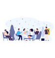 hostel lounge concept happy young people flat vector image vector image
