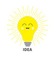 idea light bulb icon with smiling happy face vector image vector image