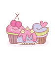 jelly and sweet cupcakes cartoon food cute vector image