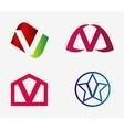Letter v logo icon set vector image vector image