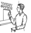 man near ticket office engraving vector image vector image