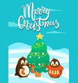 merry christmas penguins wearing warm clothes vector image