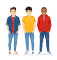 multiethnic men friends vector image