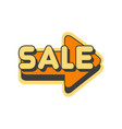 orange arrow with text sale vector image