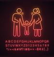 parents scolding child neon light icon vector image